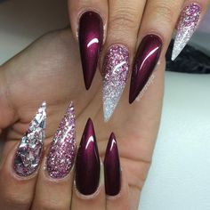 Burgundy and Silver Glitter Stiletto Nails
