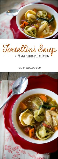 Weight Watchers friendly tortellini soup, only 4 points per serving! Be sure to use cheese-filled tortellini and it makes a great meatless recipe for Lent. Weight Watchers Soup, Weight Watcher Dinners, Healthy Soup Recipes, Crockpot Recipes, Meatless Recipes, Ww Recipes, Detox Recipes, Vegetarian Meals, Light Recipes