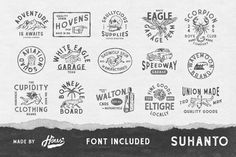 INTRODUCING Vintage Badge Templates by HOUS Inspired by vintage graphic and handdrawn vibe, you will get: - Ai Vintage Badges with editable text - EPS Badge Template, Logo Templates, Cool Business Cards, Badge Design, Animal Logo, Modern Logo, Creative Logo, Logo Branding, How To Draw Hands