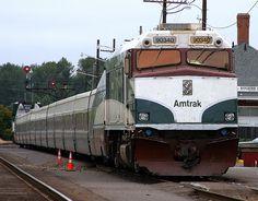 NPCU 90340 leads the Amtrak Cascades at Eugene, Oregon in the USA.