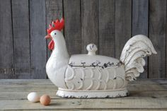 Cyber #Sale - 25% off today only on select product from our Casual Country Collection. Decorative #Stoneware Rooster Container, Cream. #wholesale #decor