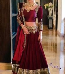 Buy Maroon embroidered silk unstitched lehenga choli lehenga-choli online