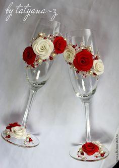 """Купить Свадебные бокалы """"19 марта"""" - ярко-красный, свадьба, свадебные аксессуары, свадебные бокалы"""