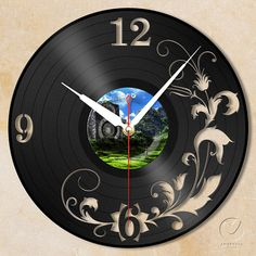 vinyl wall clock -flower no.2