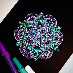 Blue and purple mandala on a black background Mandalas Painting, Mandalas Drawing, Dot Painting, Mandala Doodle, Doodle Art, Amazing Drawings, Amazing Art, Black Paper Drawing, Doodle Inspiration