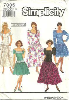 Simplicity 7006 Romantic Shoulder Baring Vintage Dress Sewing Pattern Size 4 - 12