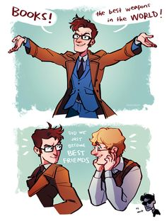 """Doctor Who / Good Omens. Let's talk about the little Crowley at the bottom going """"Oi, wot?"""" XD"""