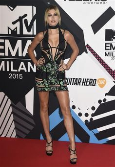 Hailey Baldwin arrives at the MTV Europe Music Awards at the Mediolanum Forum in Milan on Oct. 25, 2015.