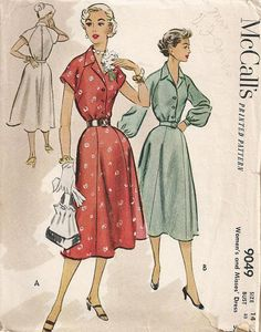 1952 Shirt Dress McCalls 9049 Size 14 by Redcurlzs on Etsy, $12.50