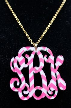 pink and white chevron necklace!  www.figure8monograms.com