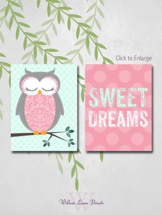 Owl Nursery Decor Baby Girls Sweet Dreams by WillowLanePrints, $20.00