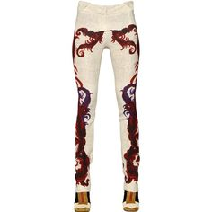 Just Cavalli Women Feather Printed Viscose Pants ($315) ❤ liked on Polyvore featuring pants, white trousers, just cavalli, viscose pants, just cavalli pants and triangle pants