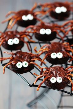 Brownie Spiders: 1 pan of baked brownies   1/2 cup semisweet chocolate chips   2 cups chow mein noodles   candy eye balls   circle cookie cutter or biscuit cutter (mine was 1.5-inch diameter)   a toothpick