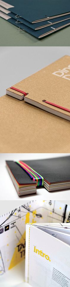 creative binding solutions for booklets and brochures Graphisches Design, Print Design, Editorial Design, Do It Yourself Inspiration, Booklet Design, Handmade Books, Handmade Journals, Handmade Rugs, Handmade Crafts