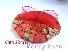 christmas ornament with cork, red felt and organza ribbon