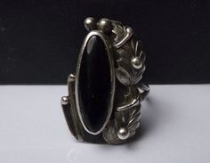 Navajo Sterling Silver Black Onyx Ring Roger Apachito Native American Feather