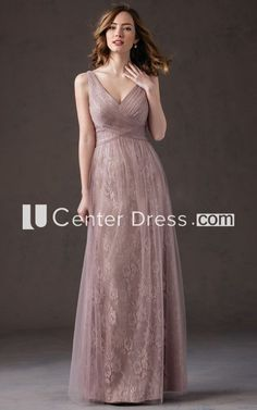 369fd705da66 V-Neck Sleeveless A-Line Bridesmaid Dress With Tulle Overlay And Pleats.  Sovrapposizioni