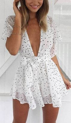 #summer #muraboutique #outfitideas | Polka Dot Silk Playsuit