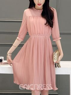 Ericdress Ladylike Pleated Casual Dress is part of Dresses - Modest Dresses, Modest Outfits, Simple Dresses, Cute Dresses, Casual Dresses, Simple Dress Casual, Pleated Dresses, Pleated Maxi, Trendy Dresses