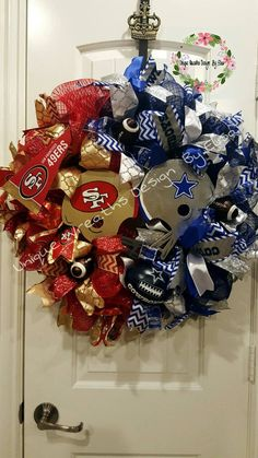 House Divided Wreath Football Divided Wreath by UniqueWreathDesign