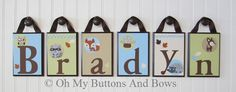 Hanging Name Letters. Nursery Name Blocks . by OhMyButtonsAndBows, $22.00