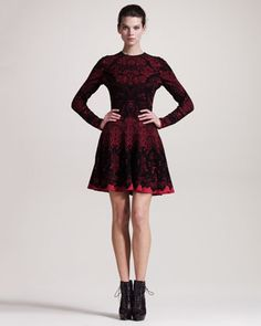 ......ideas for my graduation dress........Printed Intarsia Long-Sleeve Dress by Alexander McQueen at Neiman Marcus.