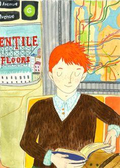 LecturImatges: la lectura en imatges  Lectura, en el jardín o en el metro… aprovechando cualquier sitio, cualquier momento para leer (ilustración de Katie Turner)