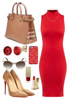 """Redberry in Burberry"" by perichaze ❤ liked on Polyvore featuring Burberry, Christian Louboutin, Belk & Co., Lanvin, Jennifer Zeuner, women's clothing, women, female, woman and misses"