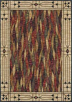 Mission style rug or Arts and Crafts Rug. Beautiful stained glass motif. Also great in Victorian homes. Machine woven from durable, fade resistant nylon. Salem-Glass-07440-Multi