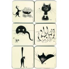 Coasters - Cats of Dubout - The Pram - hardtofind.