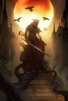 Which is better Dark Souls or Bloodborne? The Killing Moon / Bloodborne official By Bastien Lecouffe Deharme Dark Fantasy Art, Dark Art, Rpg Horror, Gothic Horror, Twilight Princess, Bloodborne Game, Rpg Dice, Arte Dark Souls, Gif Terror