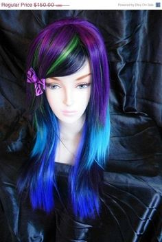 I found '20% OFF SALE Peacock / Purple, Green, Navy, Teal and Royal Blue / Long Straight Layered Wig' on Wish, check it out!