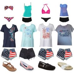 4th of July is less than a day!! by bsalvinski6364 on Polyvore featuring Norma Kamali, Boohoo, JETS, Miss Selfridge, Arizona, Birkenstock and TOMS