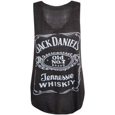 Womens Ladies Racer Back Jack Daniels Logo Print Contrast Stretch Vest... ❤ liked on Polyvore featuring tops, shirts, tank tops, tanks, stretch top, racer back tank, stretchy tops, racer back tops and racer back tank top