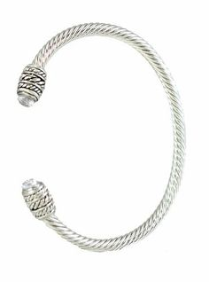 Silver Tone Designer-style Cable Rope Cuff Bracelet with Faceted White Crystals Caps Cuff Bracelets. $19.95. with Faceted White Crystals Caps. Silver Tone Designer-style Cable Rope Cuff Bracelet. Lead & Nickel Free