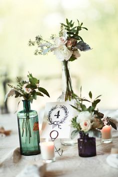 The table number + flowers