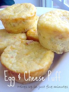 I make this recipe in bulk. Egg and Cheese Puff: 5 Minute Delight. Perfect to have on hand during the week.