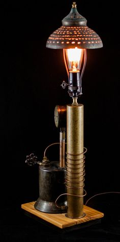 Industrial Steampunk Edison Light Table Lamp by GallagherStudio Edison Lamp, Edison Lighting, Industrial Lighting, Cool Lighting, Lighting Design, Steampunk Design, Steampunk Lamp, Steampunk House, Rustic Industrial