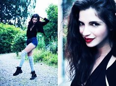 Annika M. - Åhléns Black Bathing Suit, Acne Studios Blue Denim Cut Offs, H&M Black Cropped Jacket, Vagabond Black Army Boots, Grey Over Knee Socks - The DJ is asleep.