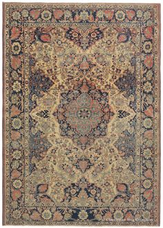 Motasham Kashan, 4ft 6in x 6ft 6in, 2nd Quarter, 19th Century.  The finest examples of the Persian Motasham Kashan style are highly sought after by collectors of Court rugs, especially when they possess the tremendous age, impeccable craftsmanship and sublime color palette of this 175-year-old piece. A coveted, deeply time-softened patina imparts a glow to its numerous subtle to jewel-toned hues.