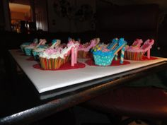 I am a first time, High heel shoe cupcake maker. I made these for my 9 year old grand daughters birthday and they were a huge hit.. Very Easy to make .  I used strawberry waffer cookies and the vanilla, and the colored stick cookies  from the dollar tree. I used the frosting in  the cans with the tips. I bought striped holders and light blue w polka dots for the cup cakes