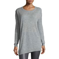 Joseph Asymmetric Cashmere Tunic Sweater ($505) ❤ liked on Polyvore featuring tops, sweaters, grey, joseph sweaters, gray cashmere sweater, relaxed fit tops, grey sweater and round neck sweater