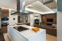 projektowanie kuchni nowoczesny salon z aneksem kuchennym, kuchania z salonem…
