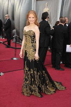Jessica Chastain in Alexander McQueen Oscars 2012