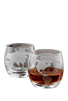 Etched Globe Whiskey Glasses - Set of 2
