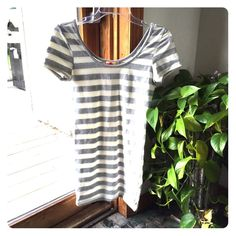 White And Grey Striped Body-Con Dress!