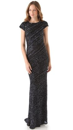 alice + olivia Gila Beaded Gown with Trapeze Hem