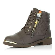 Girls Kids Broadway Lace Up Faux Nubuck Padded Collar Ankle Military Combat Boots