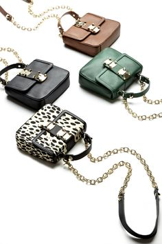 Itty Bitty Cross Body Purses in Green, Spots, Black, and Brown