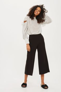 White Flock Dot Tie Sleeve Blouse - Topshop